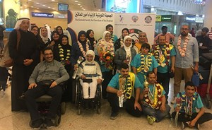 استقبال حافل للفريق في مطار الكويت الدولي