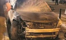 المركبة التي احترقت في المباركية نتيجة الصدام