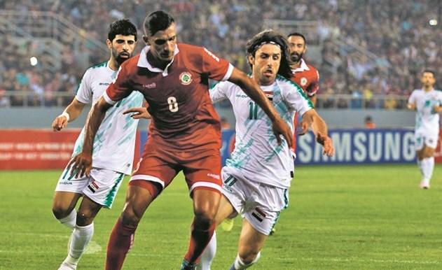 جانب من مباراة العراق ولبنان