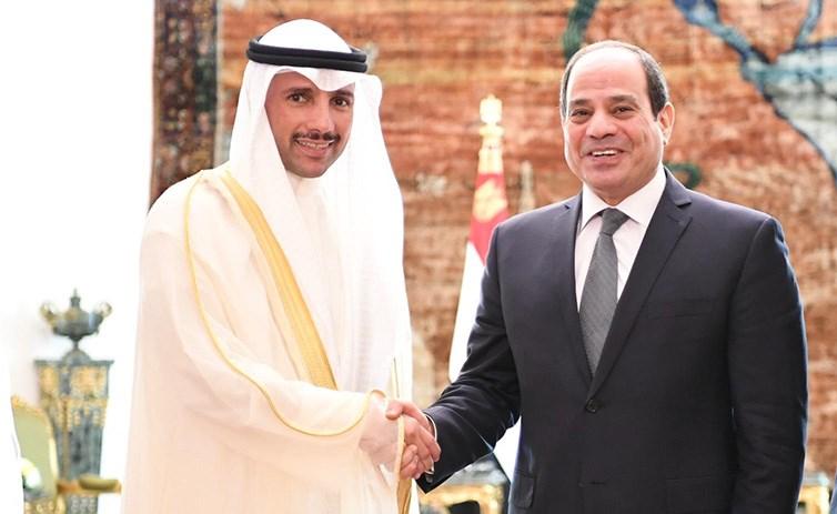 الرئيس المصري عبدالفتاح السيسي يستقبل رئيس مجلس الأمة مرزوق الغانم